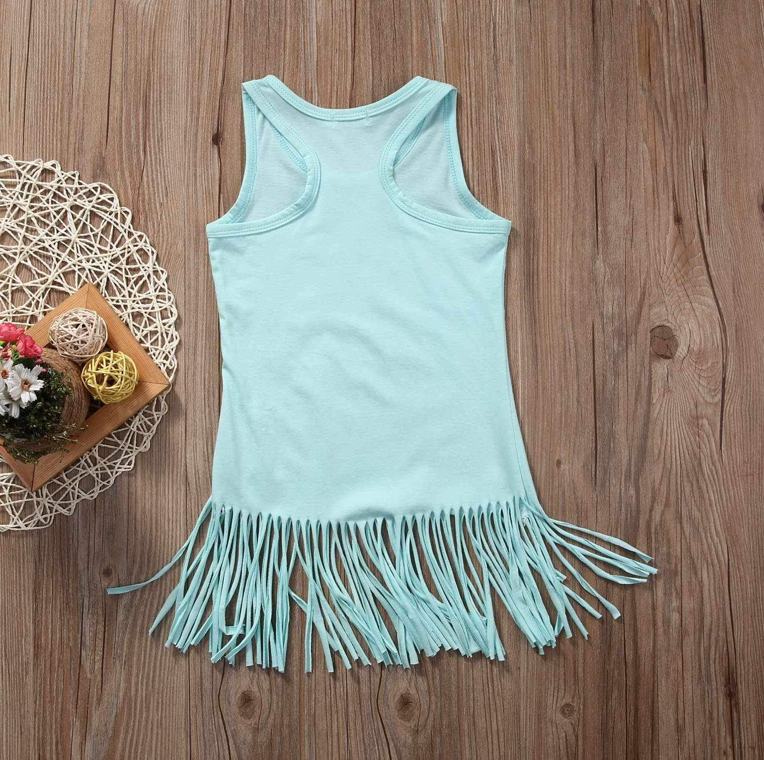 c9fe65ccd sky blue Toddler Infant Baby Kids Girls Tassel Dress Casual Crew Neck Dress  0-5 Years