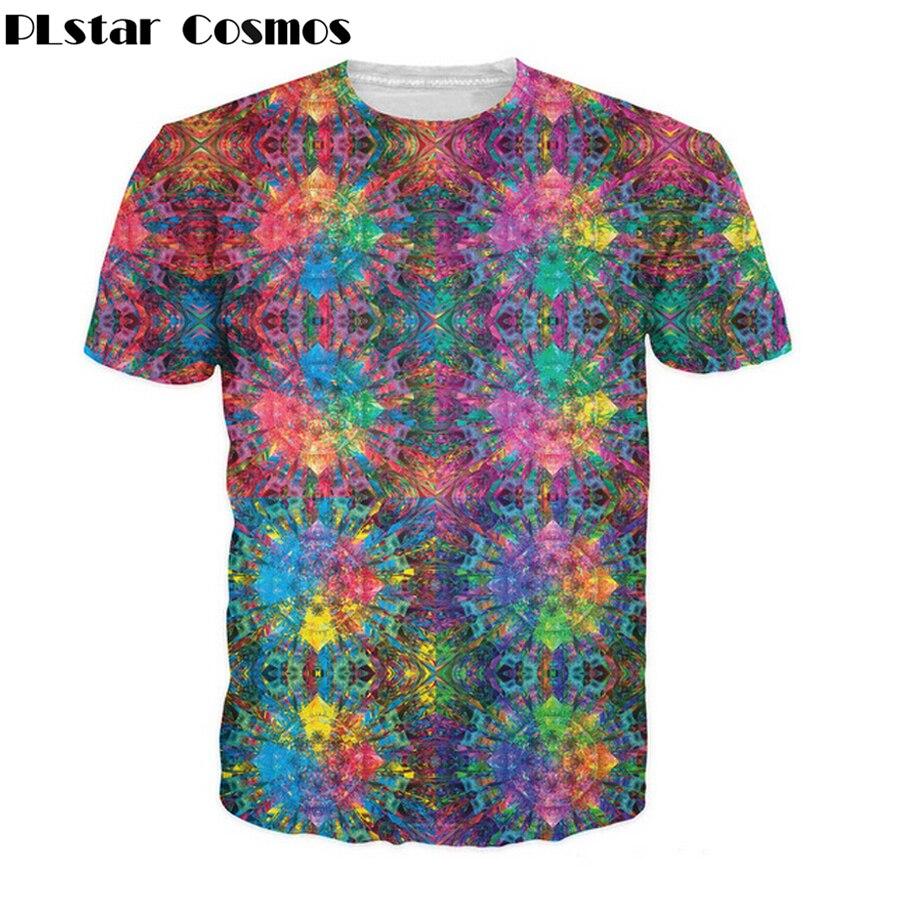 PLstar Cosmos 2017 Sommer neue Stil Flashbacks T-Shirt bunte psychedelic 3D print Frauen/Männer t shirt hip hop casual tees tops