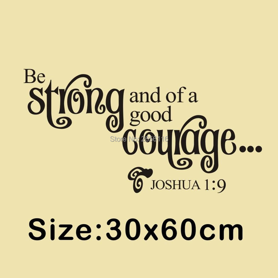 christian joshua quotes art lettering wall sticker be strong and