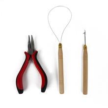 1 Набор, профессиональный набор инструментов для наращивания волос, плоскогубцы+ крючок для вязания крючком+ деревянный крючок для наращивания волос