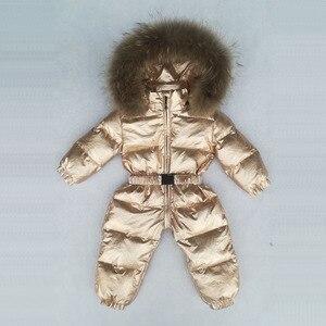 Image 2 -  30 Graden Russische Winter Jongens Meisjes 1 3Y Winter Overalls Baby Rompertjes Eendendons Jumpsuit Real Bontkraag Kinderen Bovenkleding