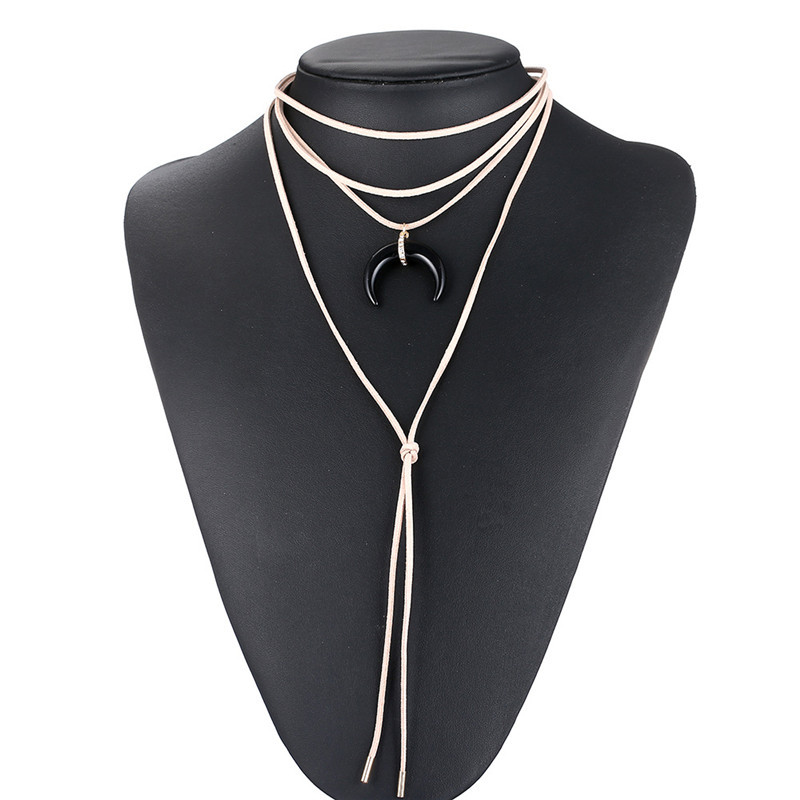 Find Me Statement Chain Leather Moon long tassels Maxi Necklace 2017 brand black collar Choker Necklace women Jewelry wholesale