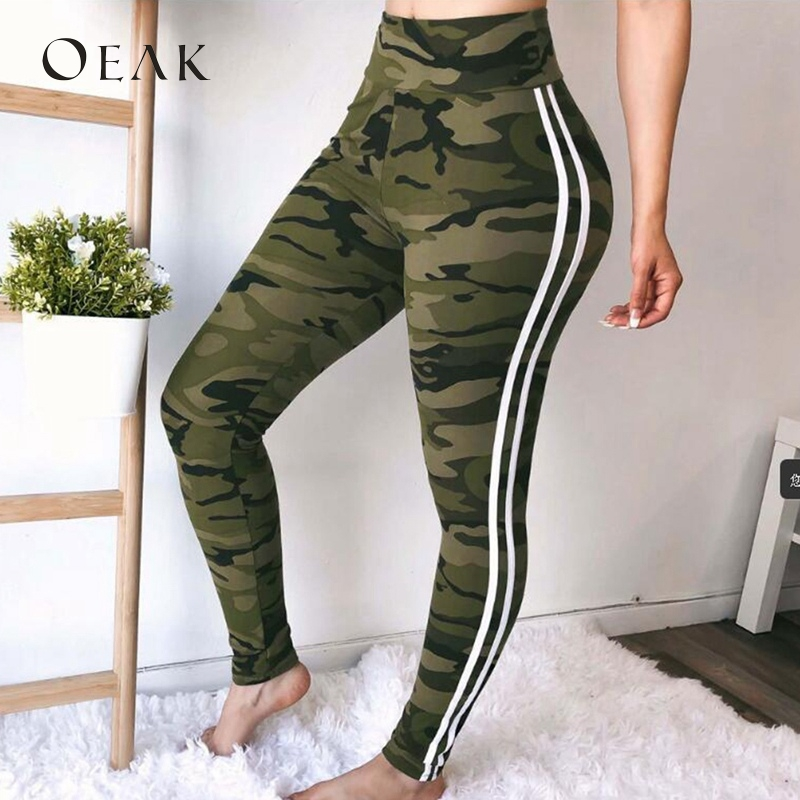 OEAK Women Camouflage Striped   Leggings   High Waist Slim Fitness Sporting Skinny Pants Casual Female Workout Jegging Trouser