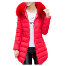 2017New Woman Winter Jacket Coat Fashion Cotton Padded Jacket Long Style Hood Slim Parkas Plus Size Thicken Female Outerwear