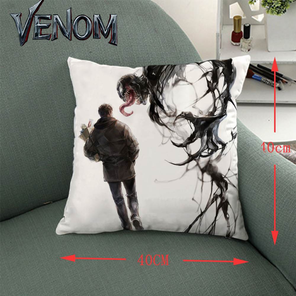 Giancomics 40*40cm Hot Venom Movie Pillow Knited Cloth Pillow Case Soft Comfortable Household Furnishing Bolster Ornament Gifts