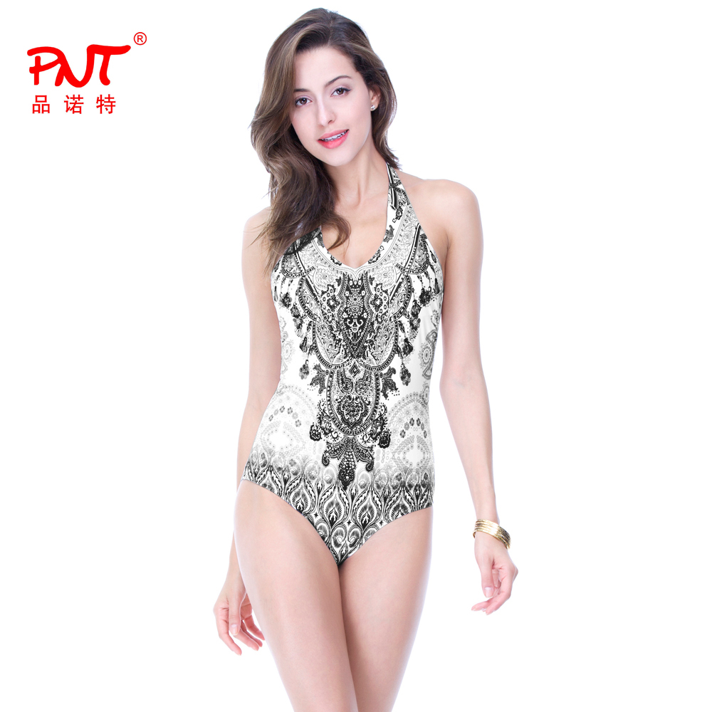PNT sexy one piece swimsuit plus size women lace brazilian high neck rhinestone bikinis 2017 push up print swimwear bathing Suit one piece swimsuit cheap sexy bathing suits may beach girls plus size swimwear 2017 new korean shiny lace halter badpakken