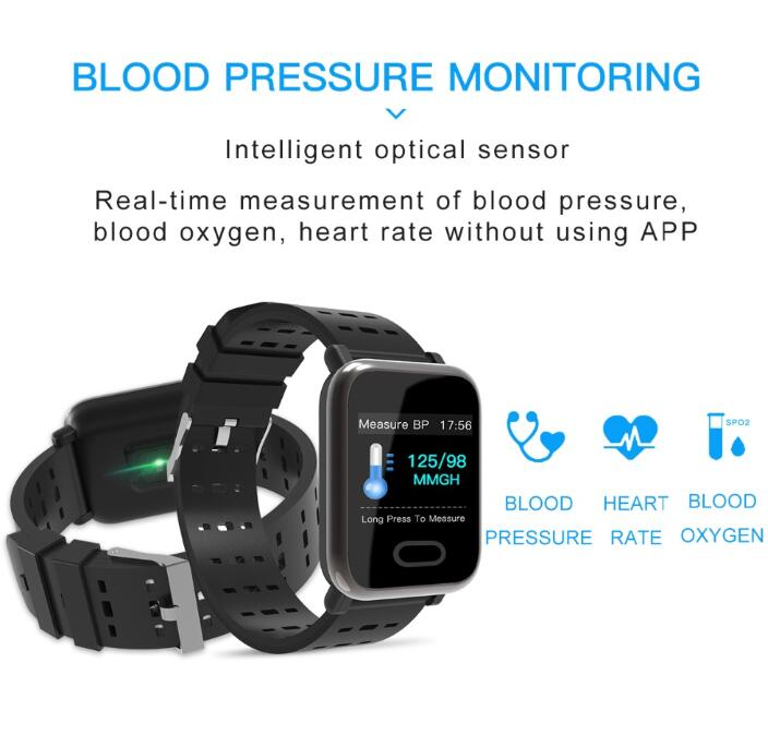 Smart Watch Waterproof Heart Rate Monitor Fitness Tracker Blood Pressure Smartwatch For Android IOS PK Q8 V6 S9 in Smart Watches from Consumer Electronics