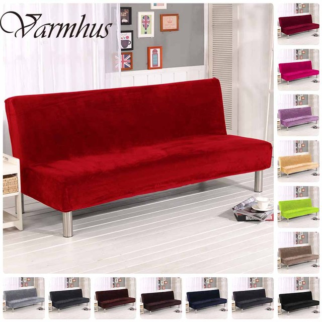 Varmhus Modern Solid Pure Color Plush Folding Armless Sofa Futon Cover Furniture Seater Protect Couch Slipcovers