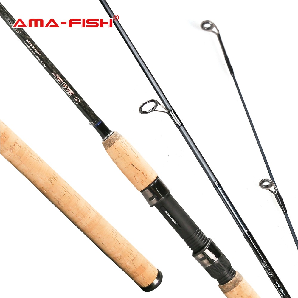 AMA-FISH 2.1/2.4/2.7/3.0 M Carbon Lure Fishing Rod M/MH/ML Power 2 Section Spinning Rod Lure Weight 5~20g Russia Local Delivery russia canned fish