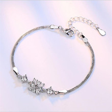 TJP Shiny Clear Crystal Snowflake Girl Bracelets For Women Party Anklets New Fashion 925 Silver Wedding Bijou