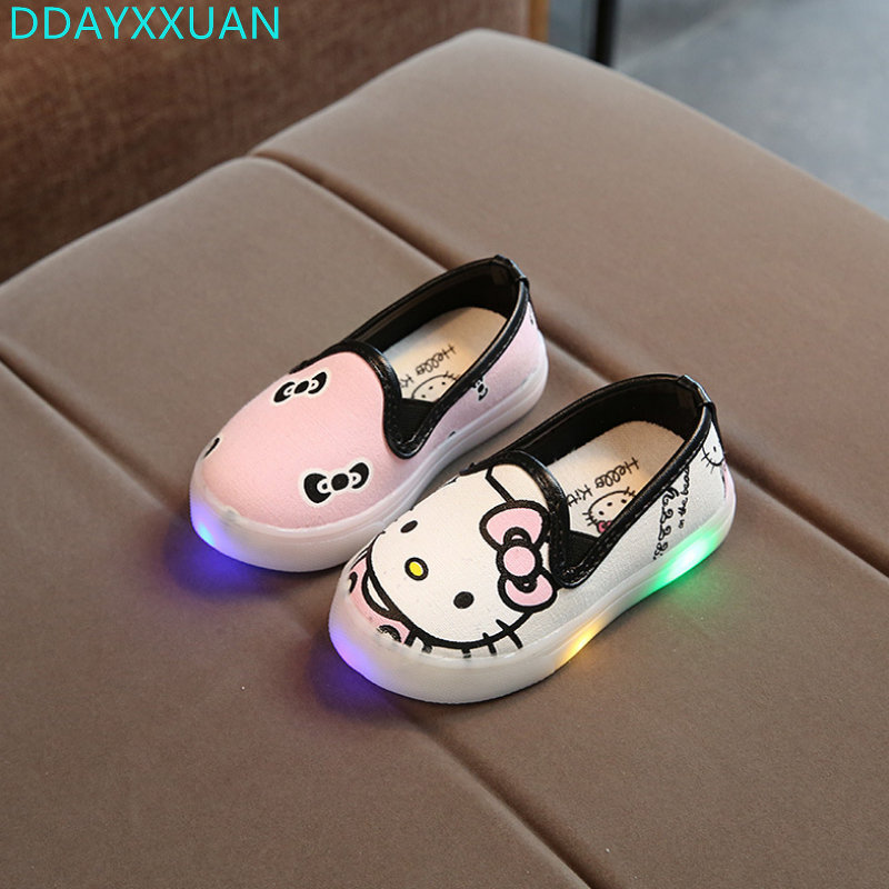 kids LED Sneakers Boys Mickey Shoes 2016 New Autumn Children canvas shoe KT Cats cartoon baby girls sneaker with light