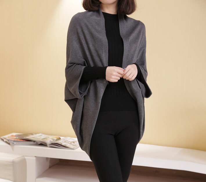 New Autumn Women Casual Loose Long Sleeve Tops Cardigan Outwear Sweater  Gray One size
