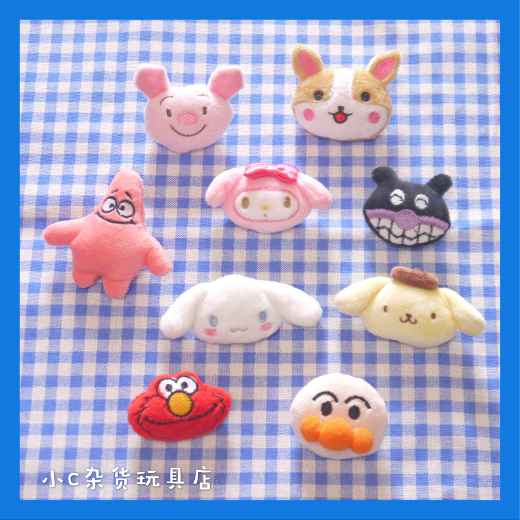 8CM Cartoon Melody Plush Brooch Toys Pig Dog Doll Toy For Kids Children Seasame Street Plush Stuffed Toys Dolls Accessories