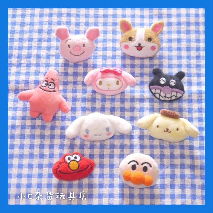 8CM cartoon melody Plush Brooch toys pig dog Doll Toy For Kids Children seasame street plush Stuffed Toys dolls accessories