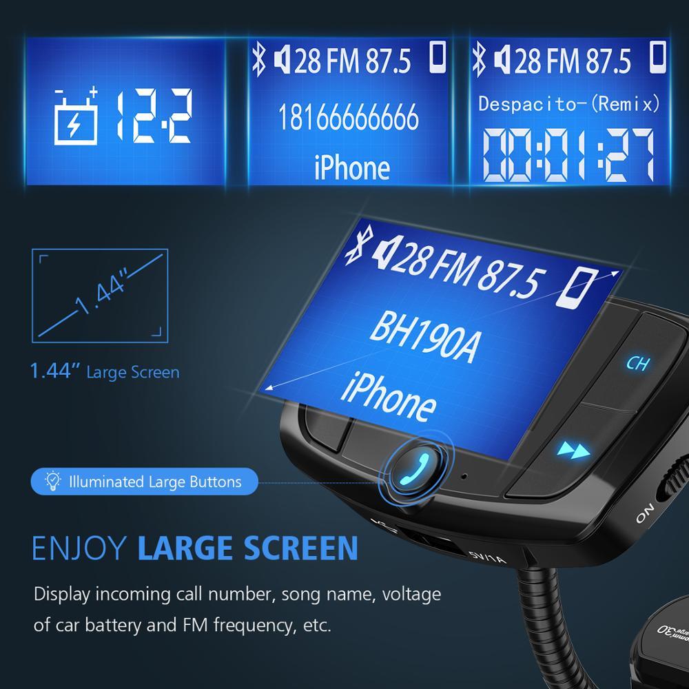 מקרנים ופלאזמות VicTsing Bluetooth FM משדר רכב אלחוטי רדיו Bluetooth מתאם QC3.0 Dual USB משחק MP3 Quick Charge עם 1.44? Display (2)