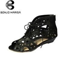Aushöhlen Frauen Gladiator Sandalen Vintage Lace Up Low Heel Wedges Sommer Schuhe Für Frau Offene spitze Reißverschluss Zapatos Mujer