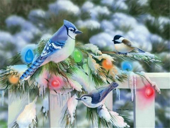 Diy Full diamond mosaic painting bird diamond Embroidery winter landscape pictures sequins Crafts Needlework wall art decorative