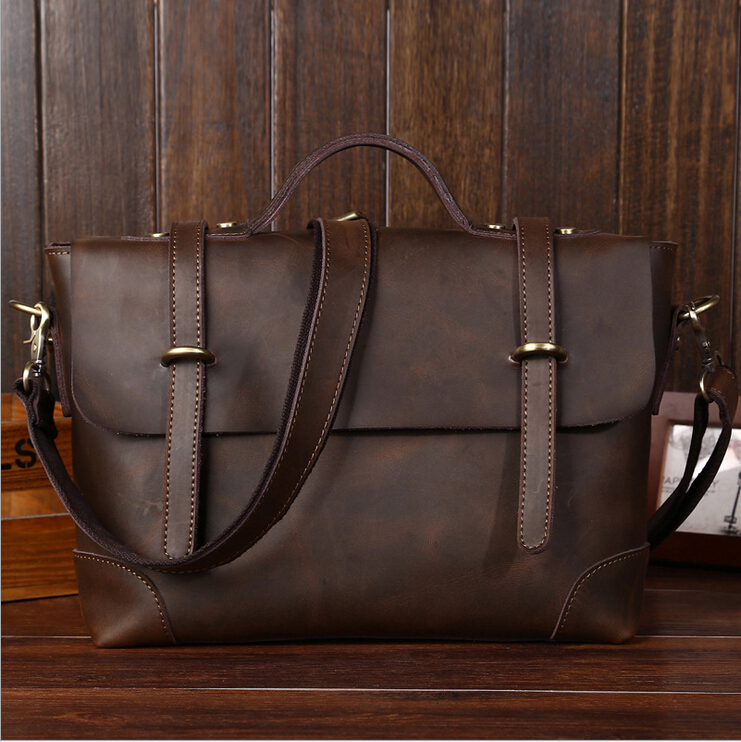 Real Crazy Horse Leather Men's Briefcases Handbag Bag Laptop bags men messenger bags genuine leather bags for men Hot,,LS-D1072