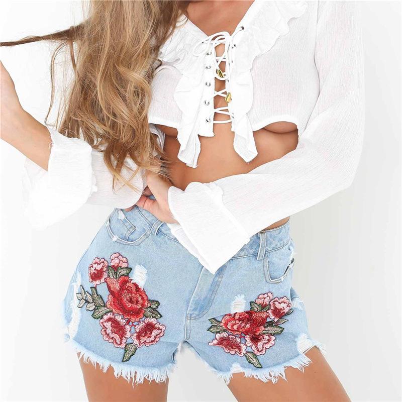 HTB1tJvrQFXXXXXMXpXXq6xXFXXXc - Floral embroidery denim shorts Women PTC 165