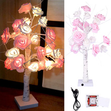 Tabletop Tree Light LED Rose Flower Tree Light USB or Battery Operated Tree Light LED Night Light Touch Switch LED D30