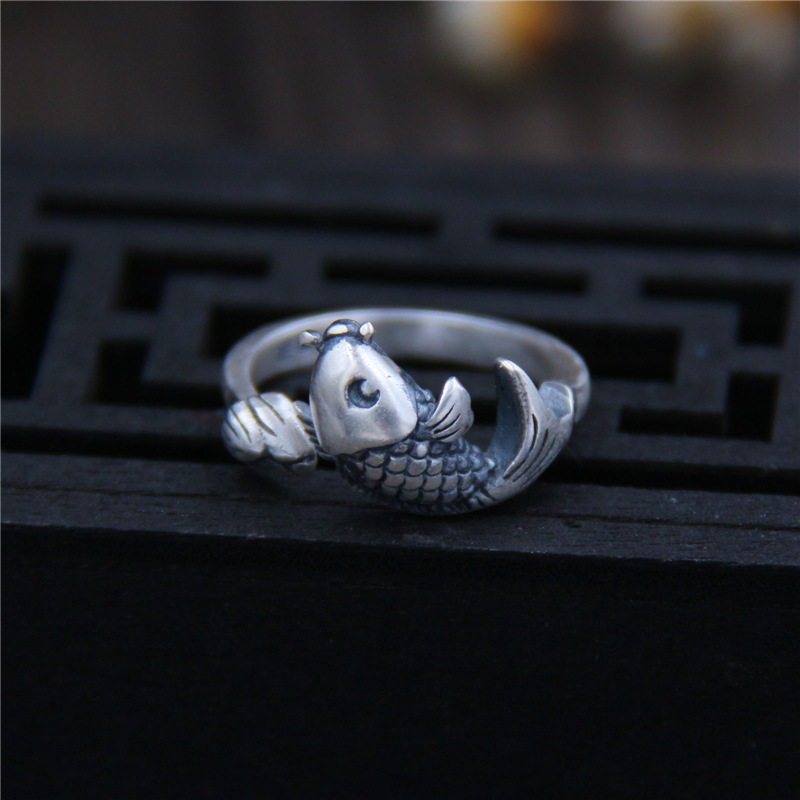 US $11.99 |C&R Pure 999 Sterling Silver Rings for Women Fish lotus female retro Thai Silver Opening ring Fine Jewelry Size 5 7 Adjustable|ring for|rings for women|ring style - AliExpress