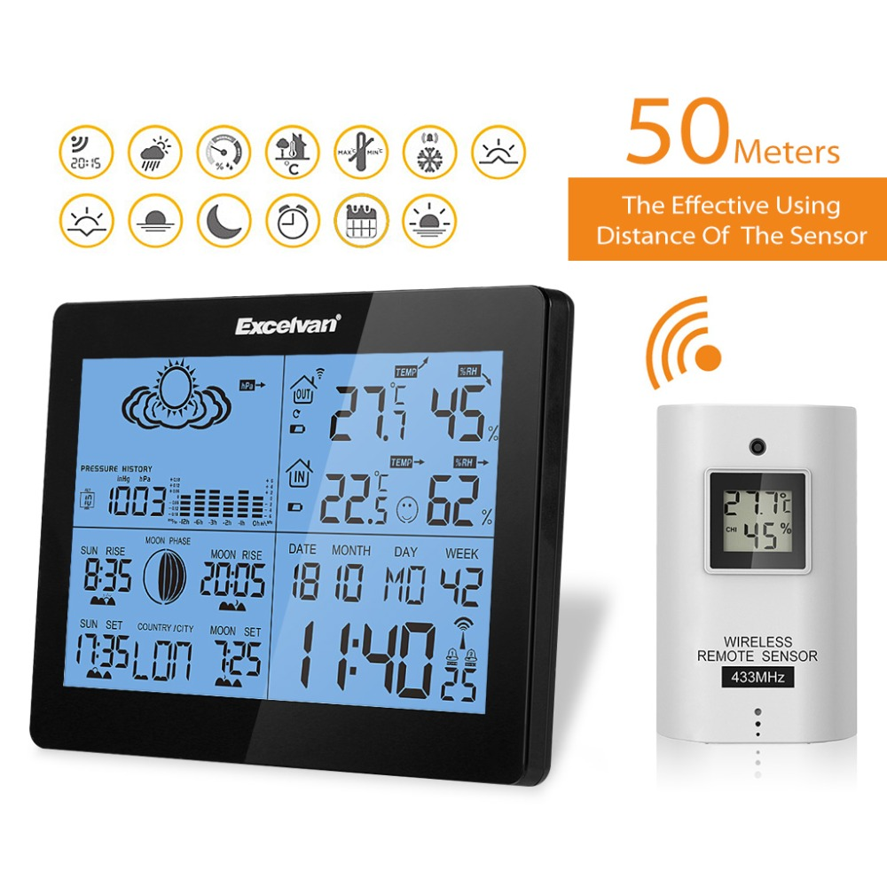 433MHz Wireless Weather Station With Forecast Temperature Digital Thermometer/_HO