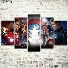 5 шт. Мстители холст настенные живописные картины Капитан Америка Civil War Железный человек картины Супергерои постеры декоративные без рамки