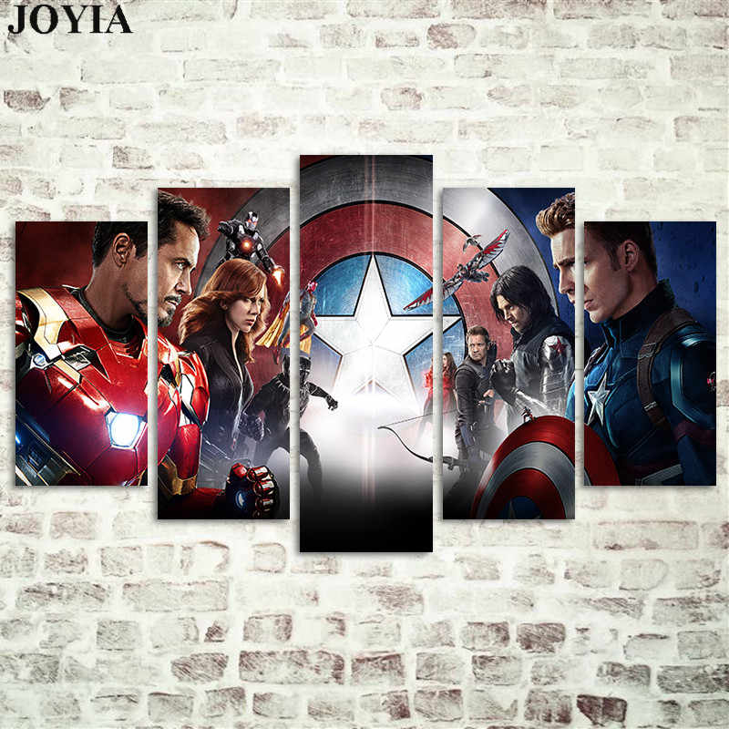 5 Piece The Avengers Canvas Wall Art Paintings Captain America Civil War Iron Man Pictures SuperHeroes Decor Posters No Frame