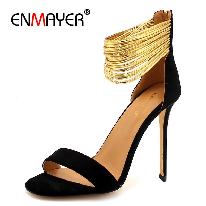 ENMAYER Sexy Pumps Sandalen voor Dames Flock Open Teen Cover Hakken - Damesschoenen