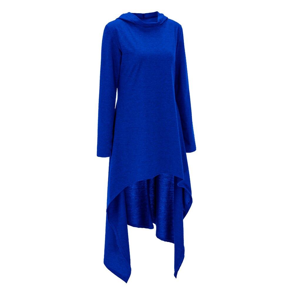 Elegantes Königsblau Mit Kapuze Langarm Frauen Maxi Winter Kleid ...
