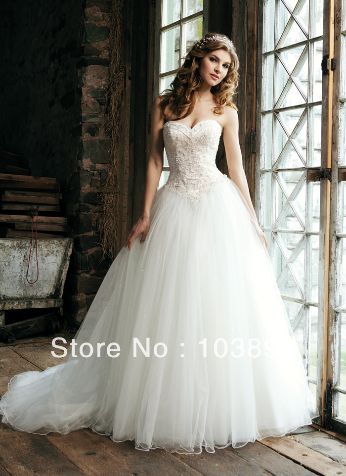 New Fashioned Ball Gown Sweetheart Pearls with Appliques Puffy Tulle ...