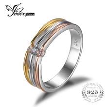 Jewelrypalace cz aniversario de boda anillo de la venda de 3 tonos 925 plata 18 K de Oro Amarillo Plateado 2016 Nueva Joyería Fina Para mujeres