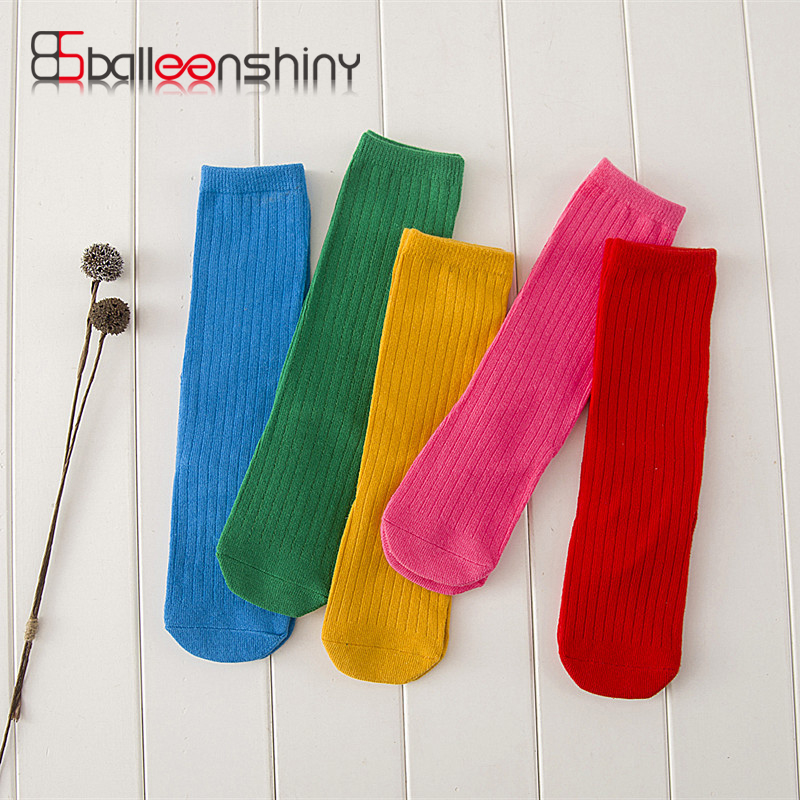 BalleenShiny New Girls Candy Color Socks Pure Color Simple Cotton Casual Sock School Socks for 0-6 years Kids Knee-socks цена