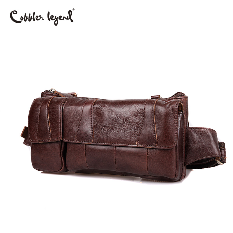 Cobbler Legend Brand Designer Men Waist Bag Genuine Leather Belt Bag Solid Coffee Phone Pouch Quality