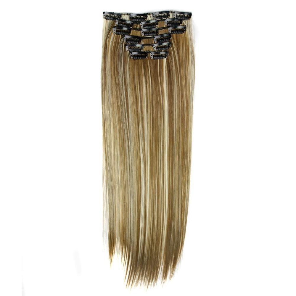 De luxe Pour Tressage 22 140g 16 Clips Résistant À La Chaleur Synthétique Clip Ins Postiches Droite Synthétique Clip Sur Cheveux Extensions