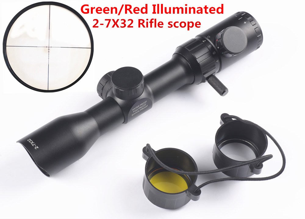 лучшая цена Hunting Rifle scope 2-7X32 Green Red Illuminated BDC Reticle Air Optical Sight Hunting Scope Riflescope Shooting caza