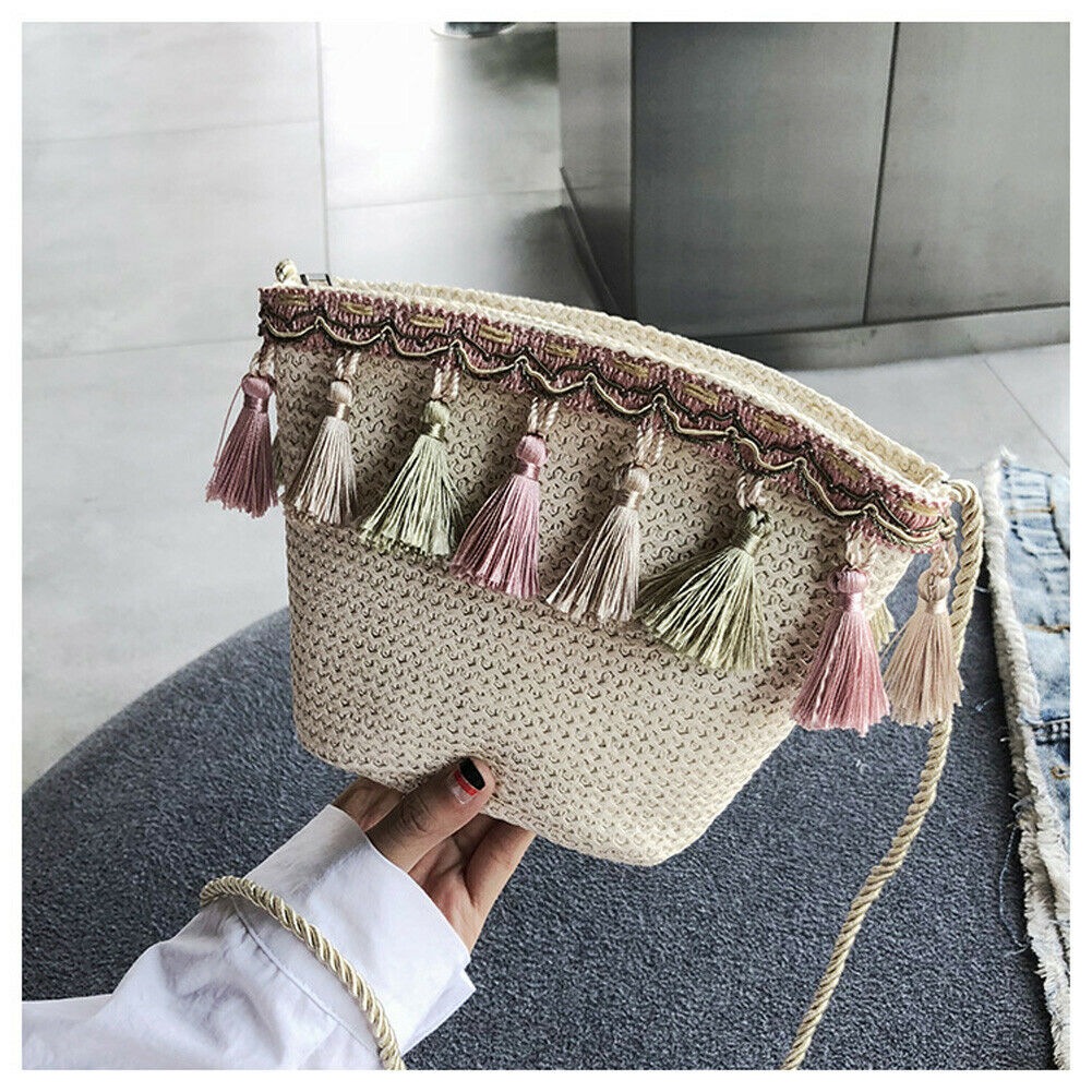 2019 Newest Hot Summer Women Fringed Ethnic Wind Woven Straw Weave Handbag Shoulder Messenger Bags Satchel Tote Purse Tassel Bag