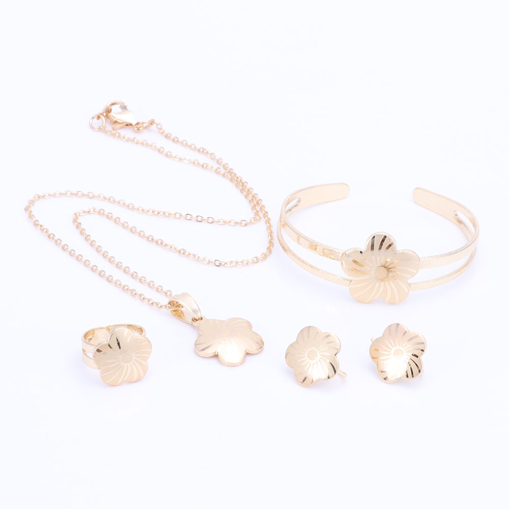 Gold Color Baby Jewelry Set Gift Children Flower Jewelry Sets Kids Jewellery Ring Earring Bracelet Pendant Necklace Jewelry Set
