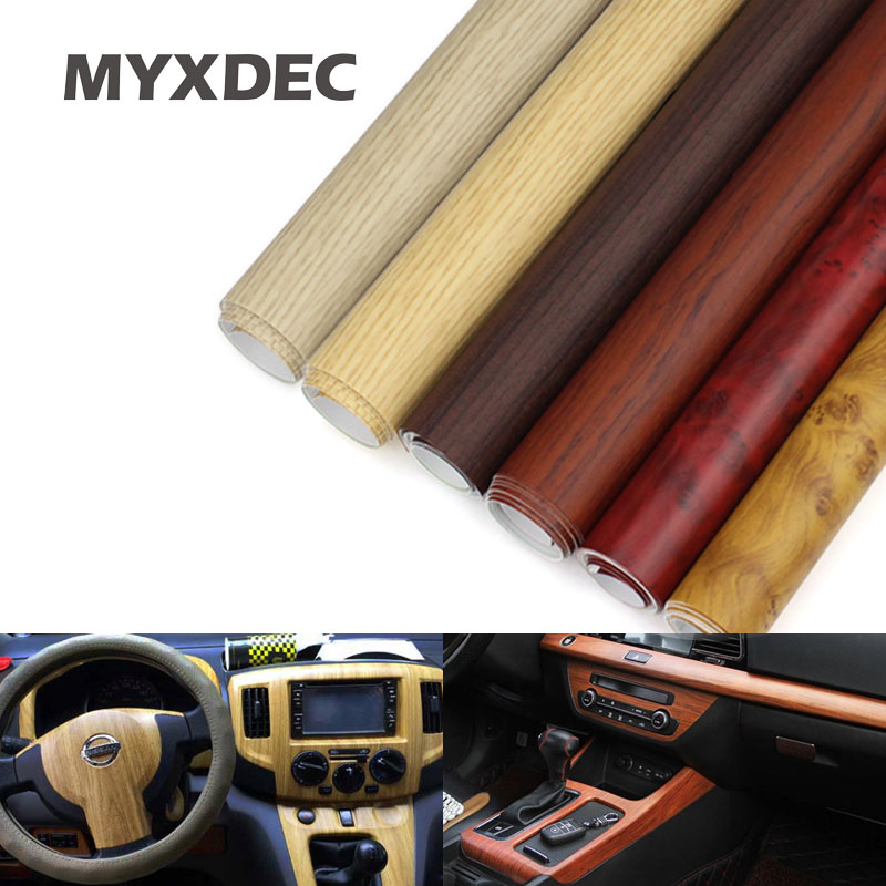 122*30CM Self-adhesive Vinyl Wood Grain Textured Car Wrap Car Internal Stickers Wallpaper Furniture Wood Grain Paper Film