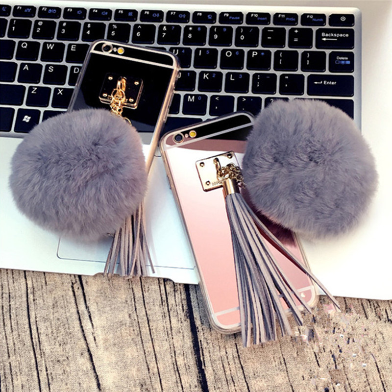 Luxury Fashion Soft Plush Gray Rabbit fur pompom Fluffy