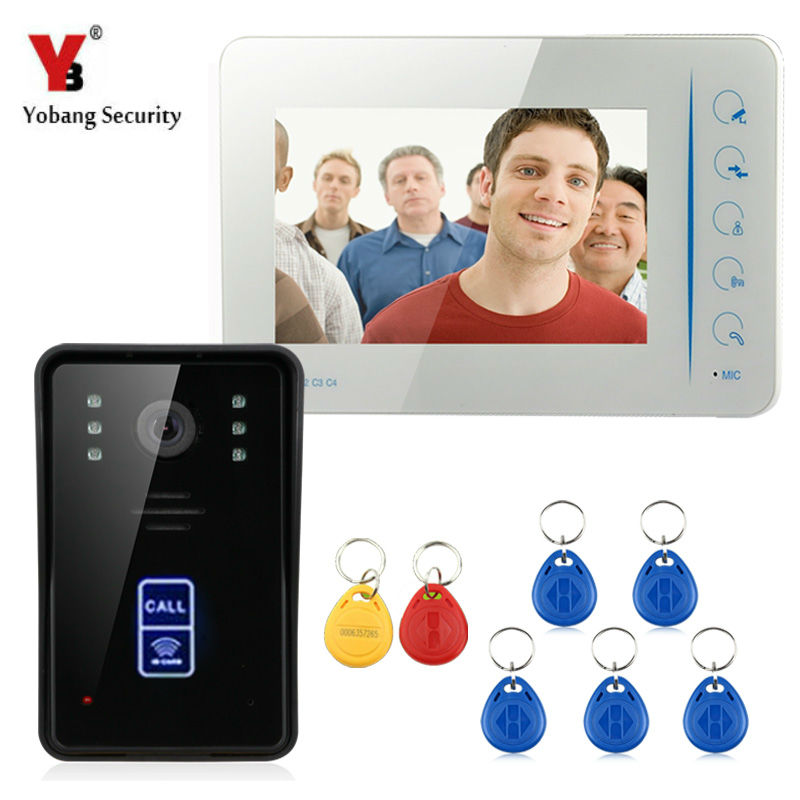 Yobang Security Wired Touch Key 7 Video Door Phone Intercom System video doorbell camera,wired phone doorbell system