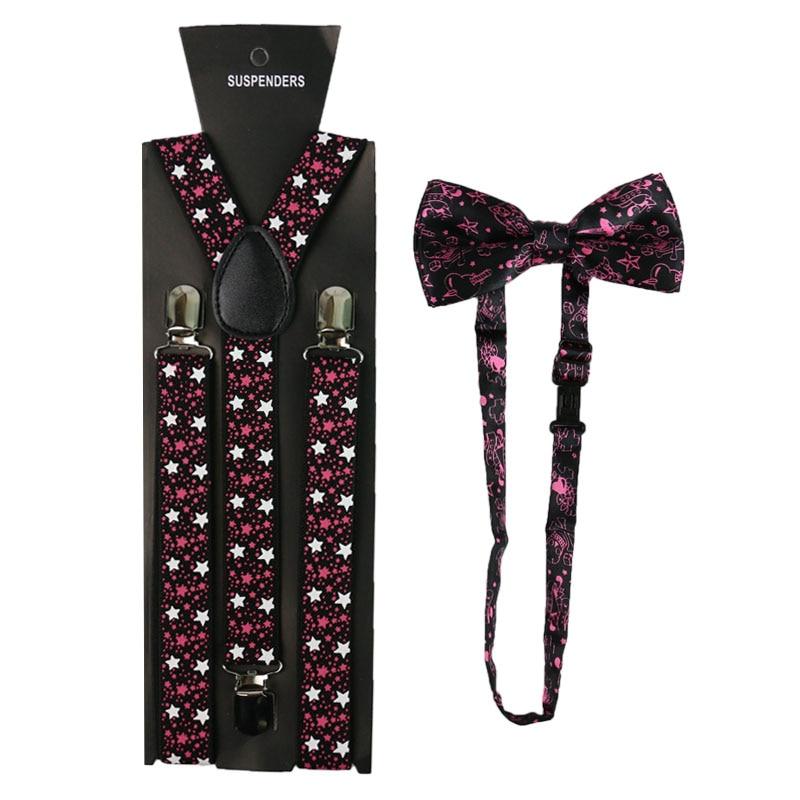 Winfox Vintage Star Print Women Men Suspenders Bowtie Set Suspenders Braces Bow Tie