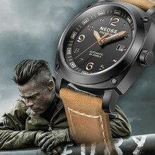 NEDSS mens steel waterproof 100m tritium luminous calendar leather business automatic Men's watch Automatic mechanical watches