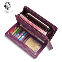 LAORENTOU Couple Wallets Chic Cowhide Leather Purse Long Wristlet Wallet for Lady Large Capacity Card Holder Zipper Wallet