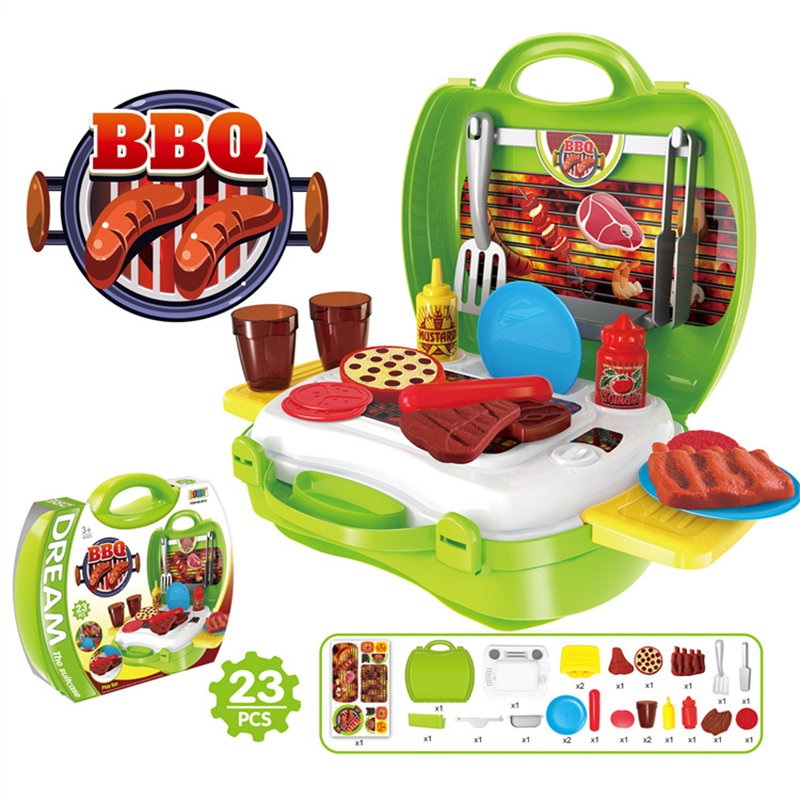 BBQ Kitchen Food Pretend Play Set DIY Play House Do Educational Toy Baby Cooking Simulation Model Gift for Girl Kid Children