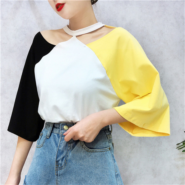 44a6f2bc2755 Women Summer Color Patchwork T-shirt Casual Short Sleeve Tees 2018 Fashion  Loose Tops Korean Ulzzang Style Halter Chic T Shirts