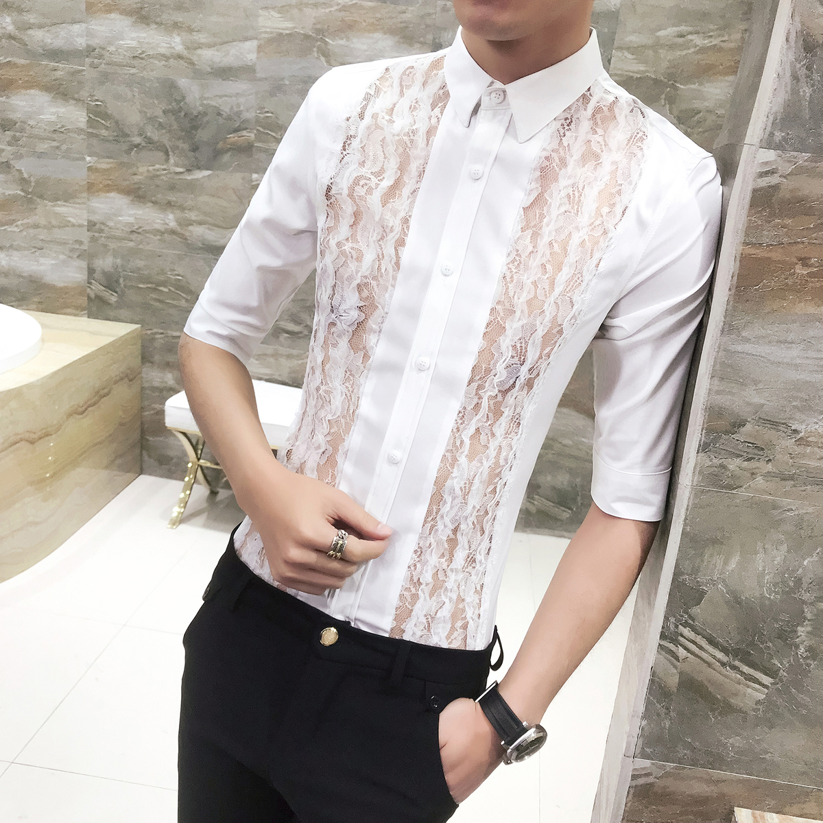 06f9a7c2dff Stripe Transparent Lace Shirt Men 2018 Summer New Designer Shirt Sexy Club  Party Wedding Shirt Fashion Slim Fit Chemise Homme -in Dress Shirts from  Men s ...