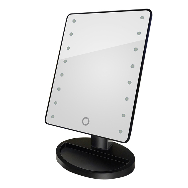 square vanity mirror with lights. Cosmetic Makeup Mirror 16 LED Light Rotatable Touch Dimmable Brightness  Adjustable Beauty Square Vanity Desk Stand