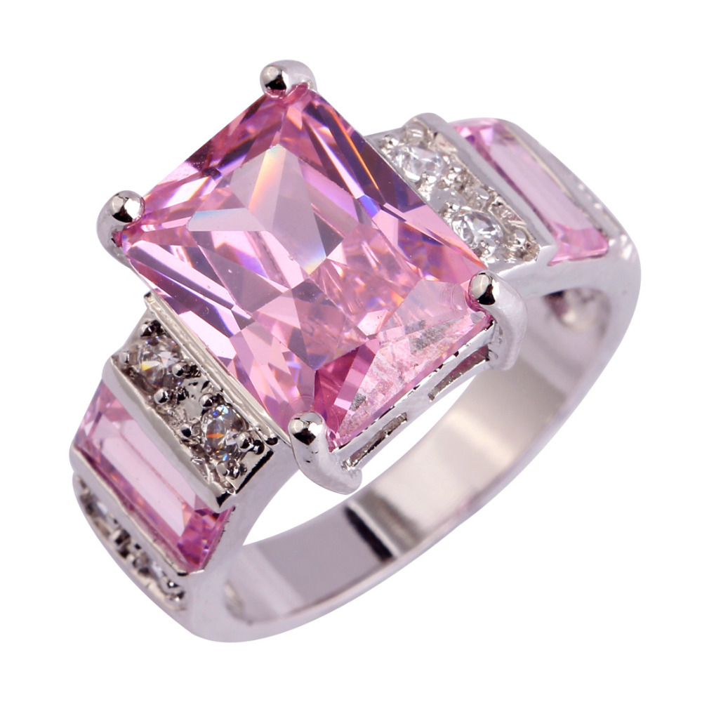 lingmei Gorgeous Jewelry Popular Pink CZ & White CZ  Sterling Silver Ring Size 6 7 8 9 10 11 12 13 Women Wholesale