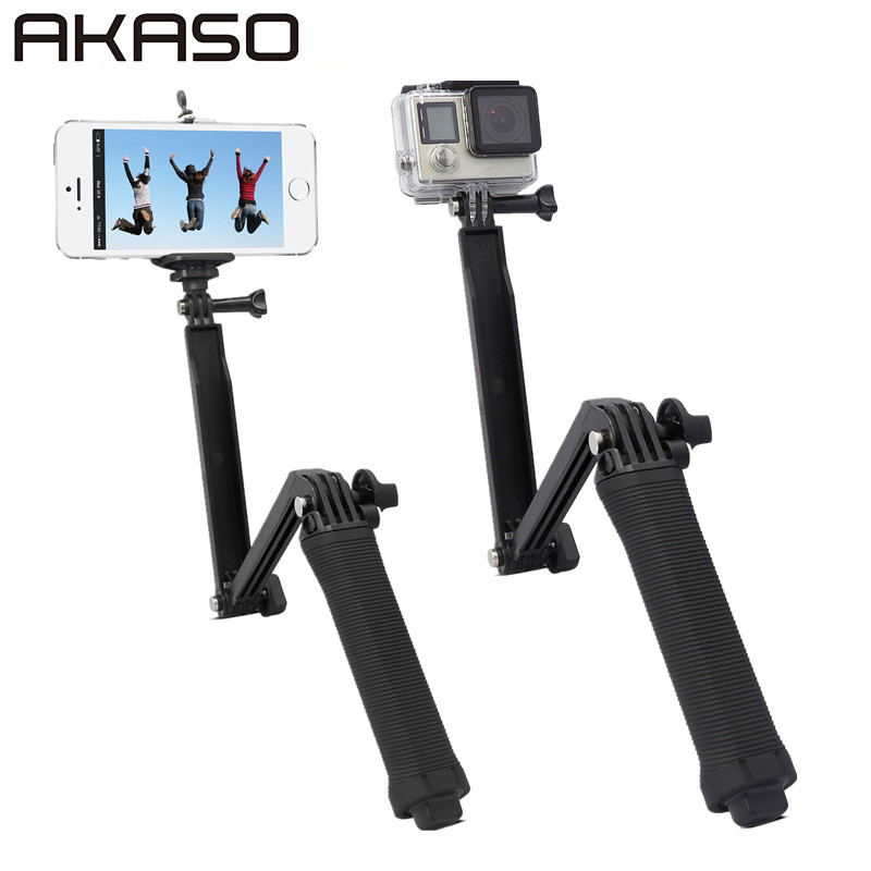 AKASO 3 Way Grip Monopod Selfie Stick para EK7000 Gopro Hero 5 4 3 sesiones SJ4000 Xiaomi Yi 4 K trípode de cámara accesorio